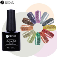 UR SUGAR 2 Bottles Diamond Glitter Nail Art Platinum Soak Off Gel Holographic Glitter Nail Art UV/LED Gel Polish