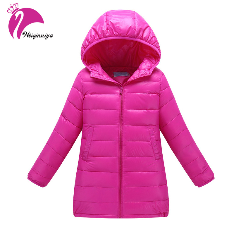 Down Jackets For Girl Winter Solid Cotton Thick Coats Jackets For Girls Windbreaker Parka Hooded Long Sleeve Outwear Jackets Hot