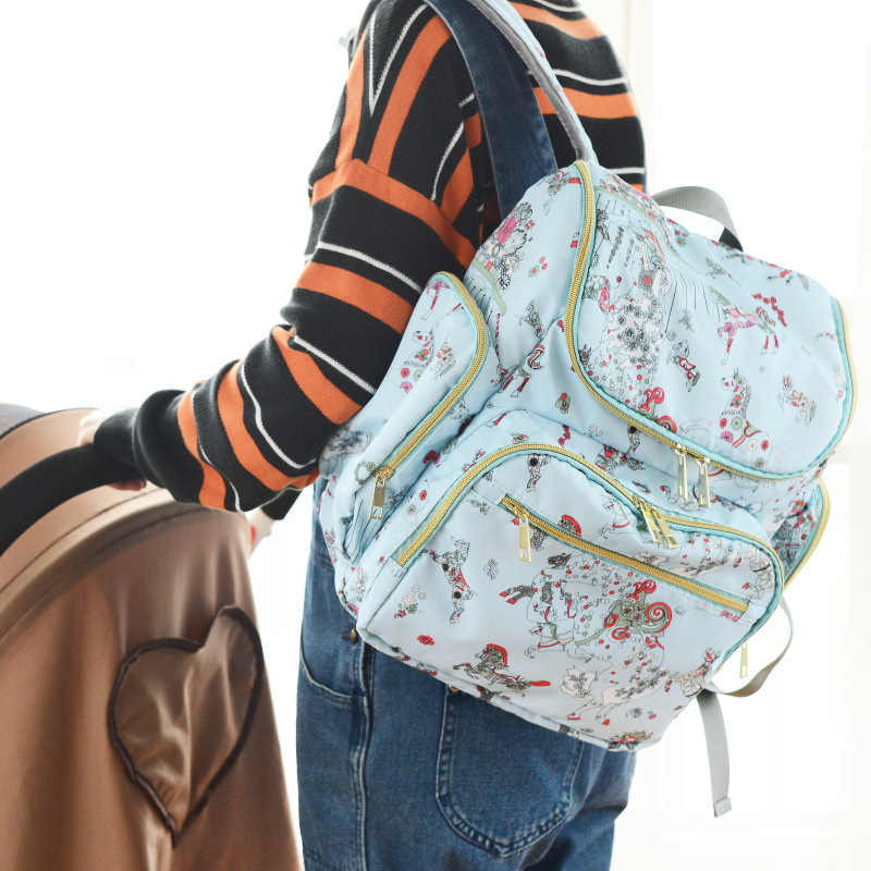 2017 New Print 4 Colors Baby Nappy Bags Diaper Bag Mother Maternity Handbag Hobos Backpack Stroller Bag 6 colors free shipping multi function inner container hobos nappy diaper baby diaper predelivery bags backpack hanging