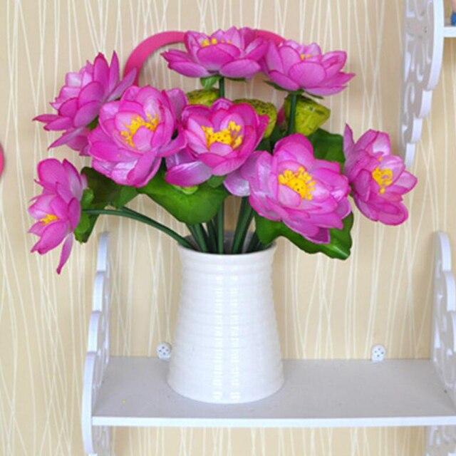 2 Pcs\\lol Silk Artificial Lotus Flower Plants Pot Culture For Home ...
