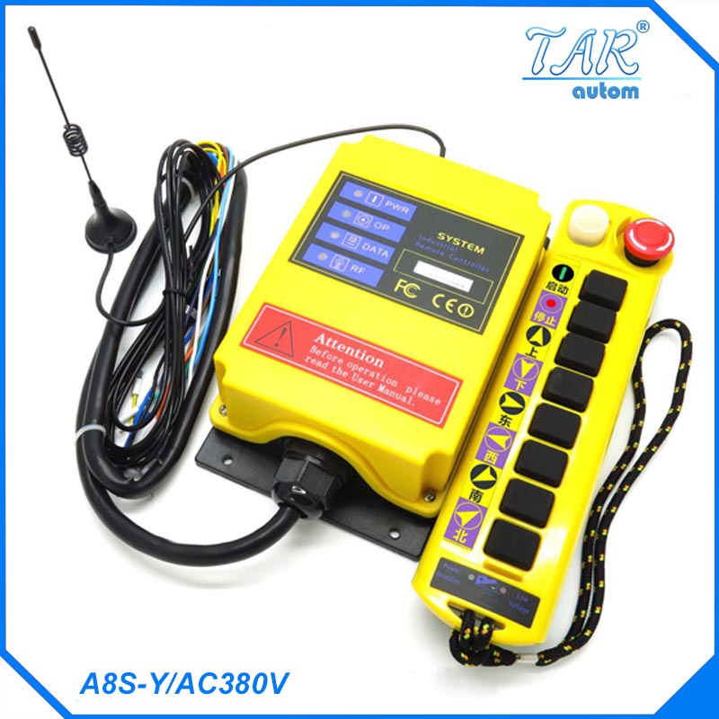 Remoto 500 m nove botão guindaste industrial controle remoto sem fio pode ser personalizado receptor AC380V Industrial Controle Remoto