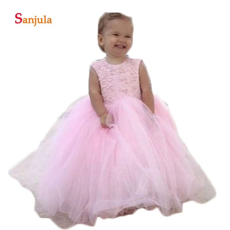 ink Tulle   Flower     Girl     Dress   Lace Gowns Open Back Birthday Party Cute   Girls   Pageant Gowns with Big Bow Vestidos de Fiesta D917