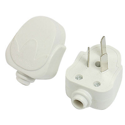 цена на 2pcs AC 250V 10A 3 Pin AU Power Cord Connector Male Electrical Plug White