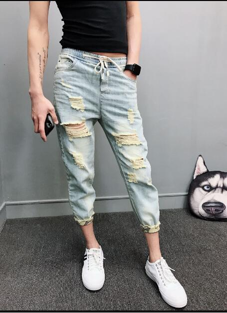 M-4XL! Big yards mens trousers 2018 Summer thin mens jeans with holes in their jeans are a trend to slim down and slim down