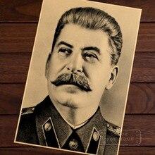 Retrato ruso compañero Joseph Stalin negro y blanco cccp USSR Poster Vintage lienzo DIY posters Adhesivos de pared decoración regalo