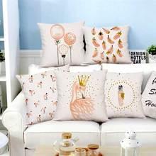 New Plush Pink Flamingo Cushion Goose Feather Balloons Geometric Nordic Home Decor Sofa Throw Pillow  For Girls Room Decoration