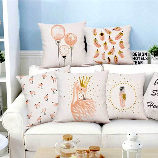 New Plush Pink Flamingo Cushion Goose Feather Balloons Geometric Nordic Home Decor Sofa Throw Pillow For S Room Decoration