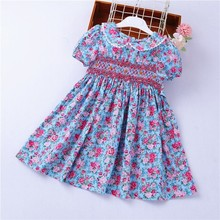smocked dresses for girls frock cotton baby clothes summer kids dress embroidery Party holiday school boutiques
