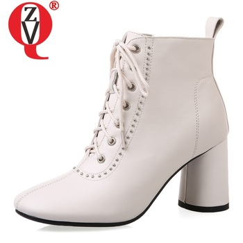 ZVQ woman shoes winter new warm fashion sexy square toe genuine leather ankle boots outside high heels zipper cross-tied shoes