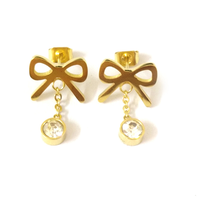 Fairladyhood Bow Earrings Stainless Steel With Zircon Gold Stud Earrings High Quality Women Earrings For Women Party Accessories To Have Both The Quality Of Tenacity And Hardness Earrings