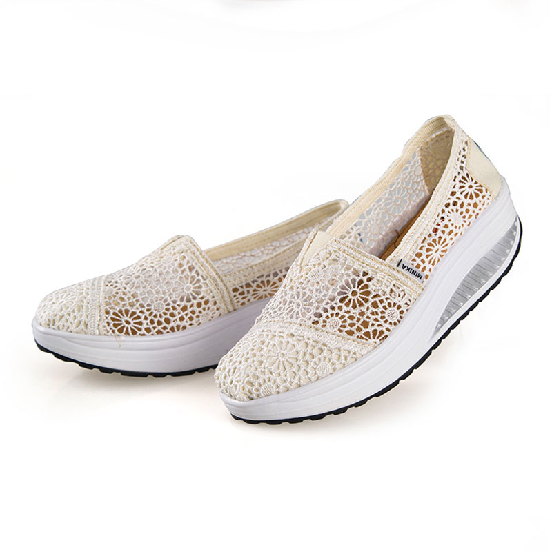 Women Breathable Hollow Out Mesh Slip On Shoes Light Rocking Sports Shoes Slimming Wedge Sneakers