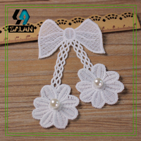 New Bowknot Flowers Inlaid Pearl DIY Accessories Cloth Paste Women S Skirt Patch Decals Clothing Accessories