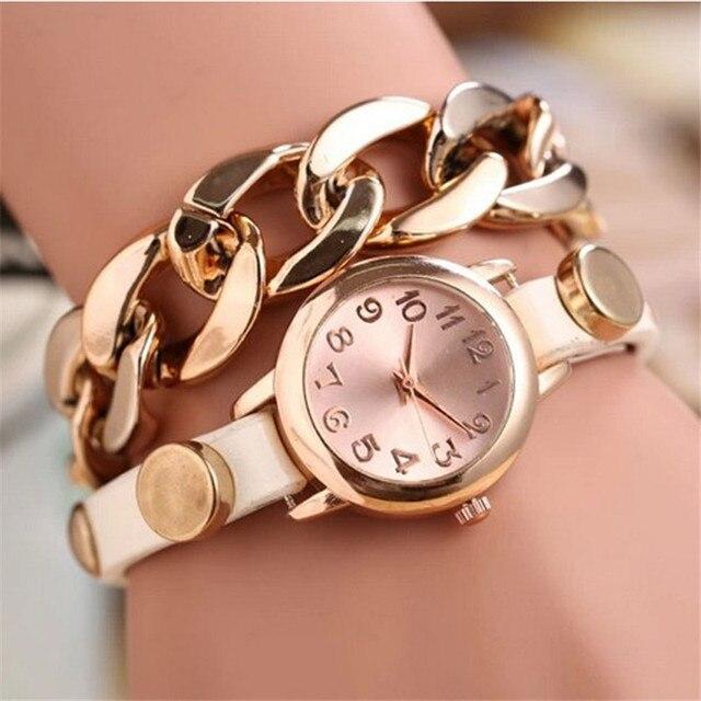 Hot Sale Korean Fashion Quartz Watch Women Dress Watches Gold Dial Leather Brace