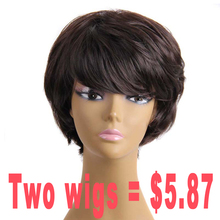 Factory Price Short Brown Wig Cosplay Synthetic Wigs For Black Women Afro American Short Wigs For Black Women Natural Cheap Wigs