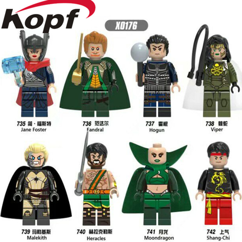 Single Sale Super Heroes Jane Foster Thor Shang-Chi Fandral Hogun Malekith Bricks Model Building Blocks Children Gift Toys X0176 building blocks super heroes back to the future doc brown and marty mcfly with skateboard wolverine toys for children gift kf197