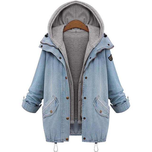 2017 Mulheres Jaqueta Jeans Ocasional Duas Peças Set Denim Jaqueta Com Capuz Plus Size de Grandes Dimensões Mulheres Casuais Casaco Outwear Primavera Parka
