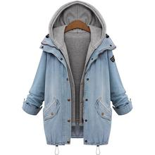 2017 Women Casual Jean Jacket Two Piece Set Denim Jacket Hooded Plus Size Oversized Casual Women Coat Outwear Spring Parka