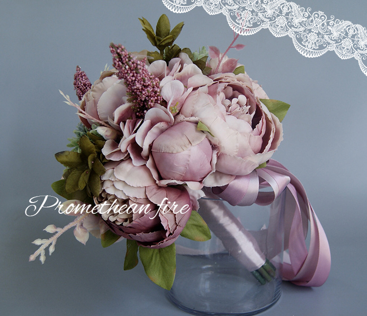 Bridal Wedding Bouquets Pink Champagne Bouquet For Brides Artificial Flower Bridal Bouquet AA037