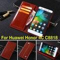 Couro capa para Huawei Honor 4C, caso da aleta de luxo C8818 caso de telefone celular carteira com suporte de cartão
