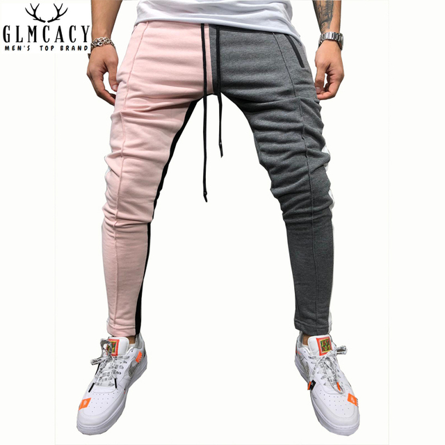 8041f68fc Mens Slim Fit Sweatpants Drawstring Striped Track Pants Color Block  Patchwork Jogging Pant Sports Hip Hop