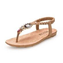 Summer Sandals Women T-strap Flip Flops Thong Sandals Designer Elastic Band Ladies Gladiator Flat Sandals Woman Shoes 3 Color недорого