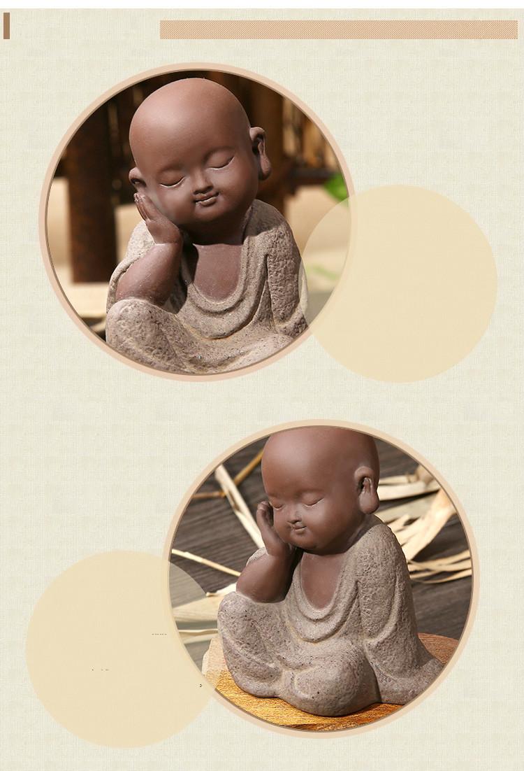 HTB1ggdEau6sK1RjSsrbq6xbDXXa7 - Buddha Statues Small Monk Color Sand Ceramic Home Club Geomantic Decoration Purple  Figurine Tea Pet