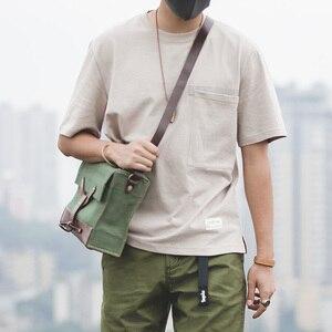 Image 5 - Мужской тяжелый хлопок свободный крой короткий рукав, круглый вырез карман Футболка