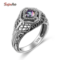 Szjinao Usa Classic Luxury Brand Women's Vintage Ring 925 Sterling Silver Jewelry AAAAA Rainbow Topaz Party Anniversary Gift