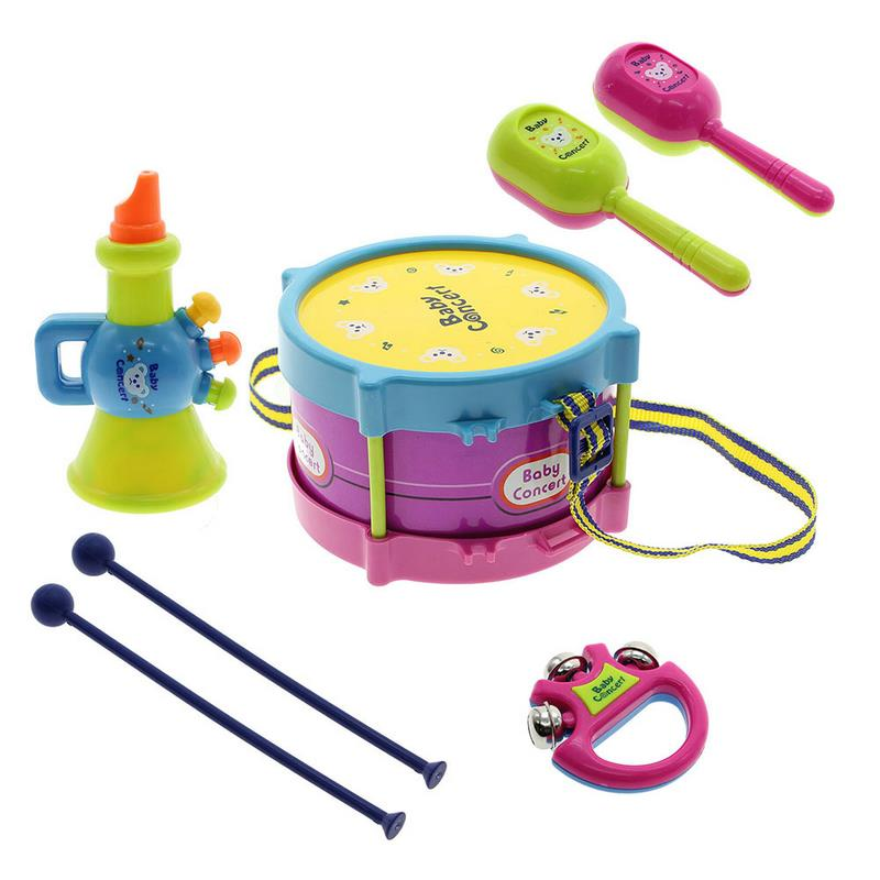 Toy Drum Musical Instruments : Pcs kids toys roll drum musical instruments band kit