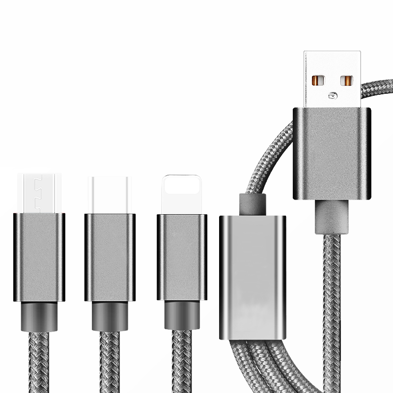 3 in 1 USB Multifunction Data Line iOS Type-c Android Three Portable Braiding Line Intelligent Charging Line Mobile Phone
