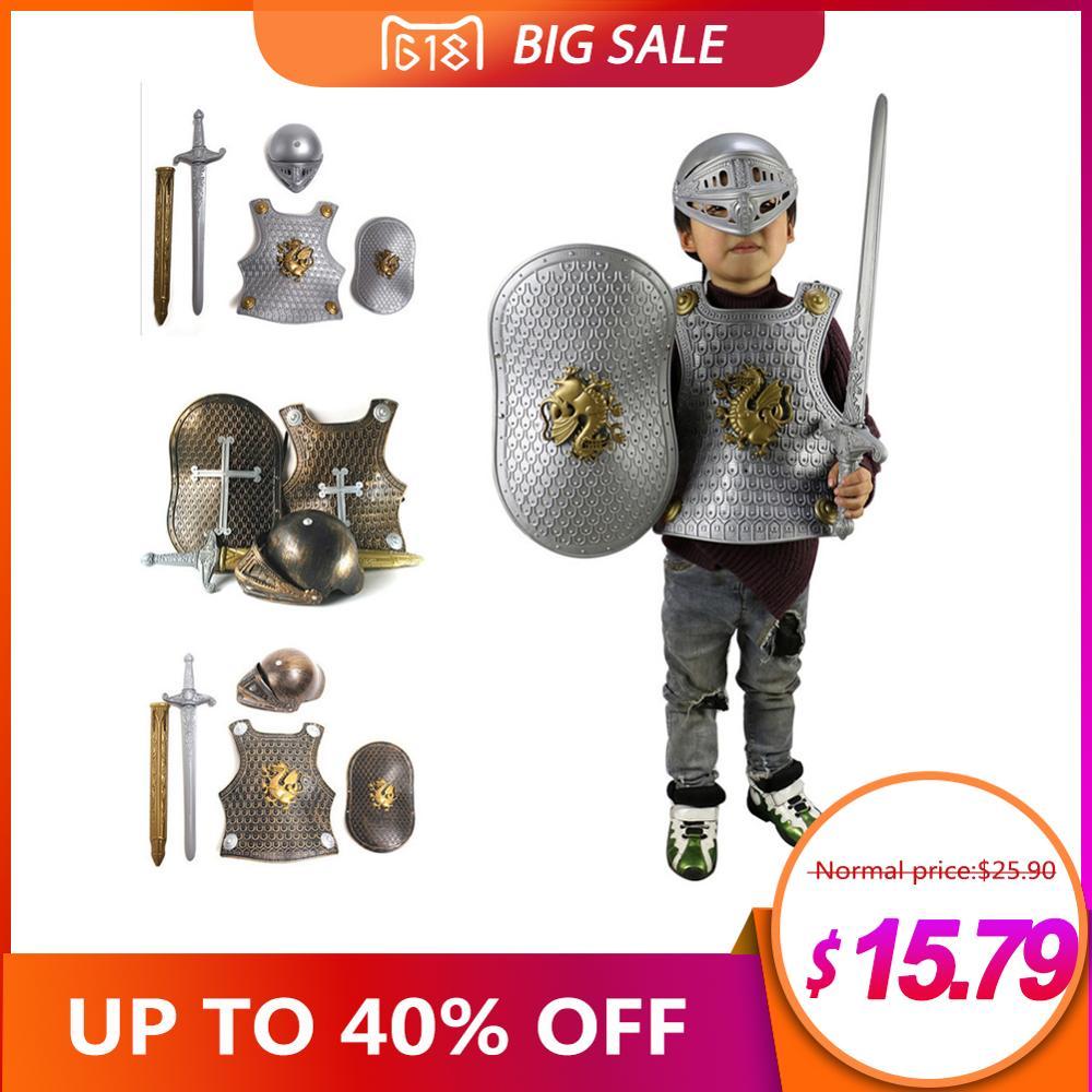High Quality Halloween Children Kids Knight/Gladiator Dress-up Costume Armor+Shield+Sword+Helmet Warrior Cosplay Boy Play close-up