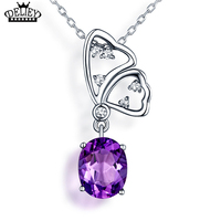 DELIEY Top Quality Genuine 925 Sterling Silver Natural Amethyst Butterfly Necklaces Luxury Jewelry For Women