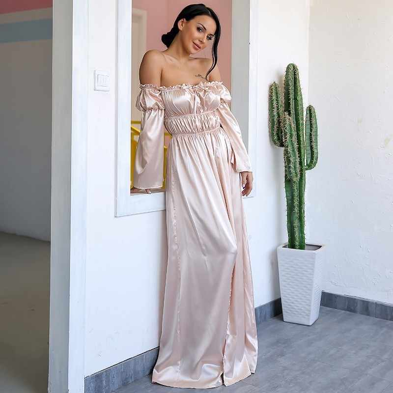 3097cfef29903 Yissang Off Shoulder Maxi Dress Sexy Long Dresses Ladies High Backless Cut  Out Party Night Satin Split Shift Dress Vestidos