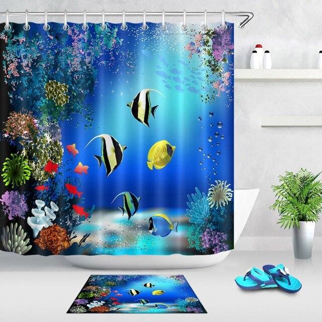 LB 3d Underwater World Pesce di Mare E Pianta Tenda Della Doccia E Vasca Da Bagn