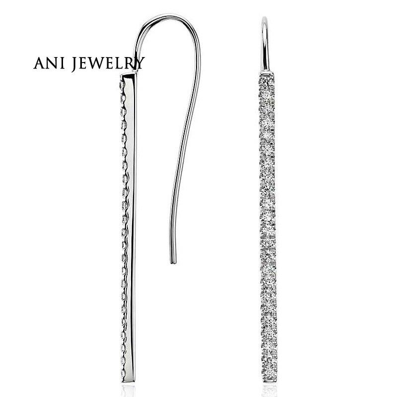 Boucles d'oreilles en or blanc ANI 14 k pour femmes 0.45 ct certifiées I/S1 avec diamants naturels boucles d'oreilles de fiançailles pour femmes personnalisées