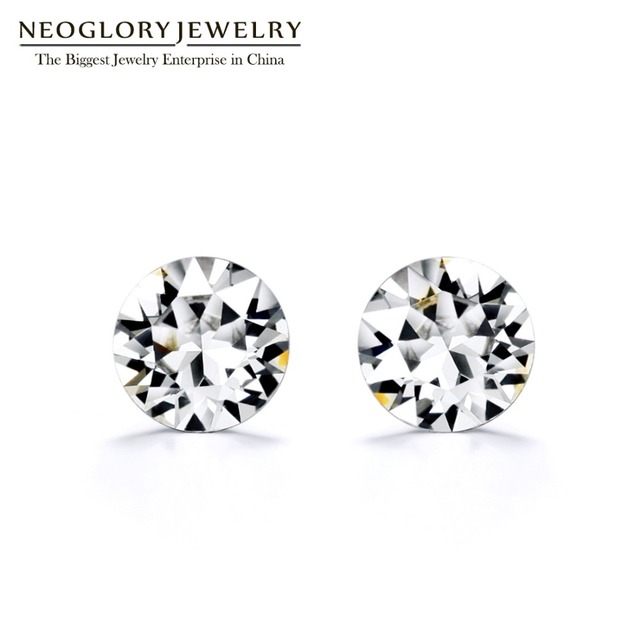 Neoglory Simple Earrings White Pink Blue Crystal Stud Earrings