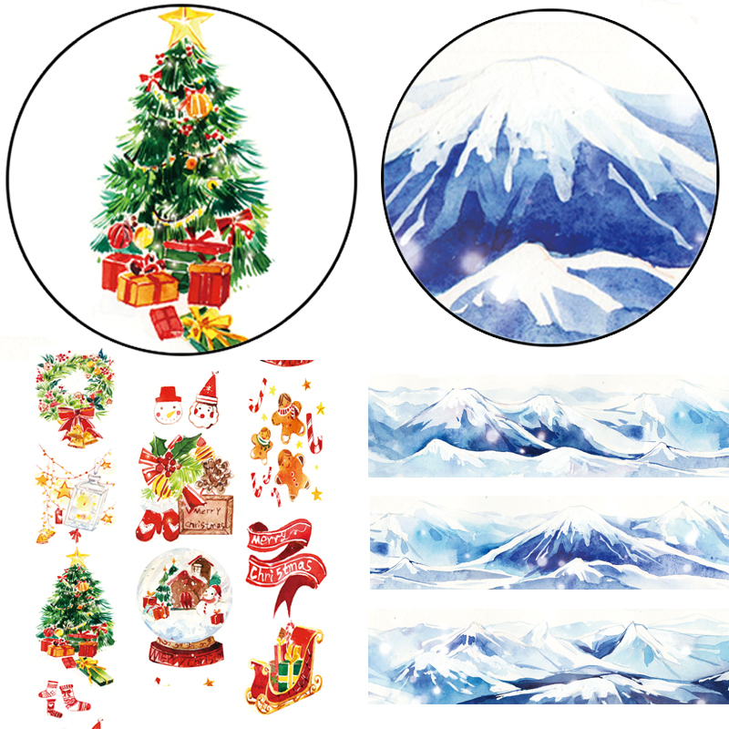 1 Pcs Alideco Washi Masking Tapes Merry Christmas  Snow Mountain Adhesive Tapes DIY Paper Scrapbooking Stickers
