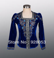 Free Shipping! Ballet Man Tunic Professional Dance Costumes Boy Coat For Ballet Dark Blue Classical Ballet Dance Wear AT0073