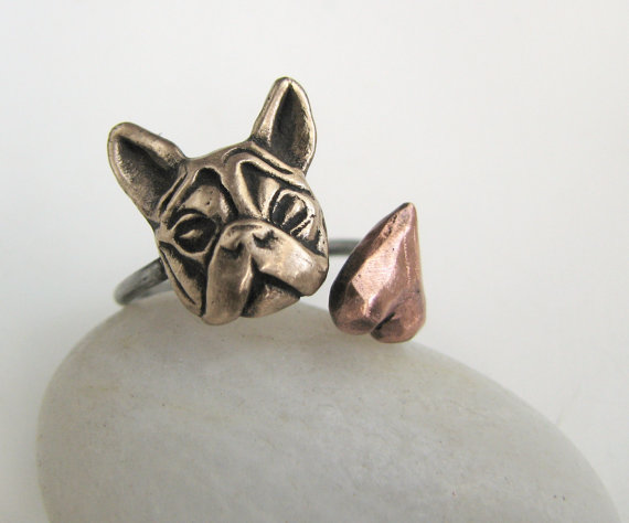 Hearty Wholesale Adjustable Retro French Bulldog Animal Ring 3colours Antique Bronze/silver/copper Bats Jewelry Free Shipping12pcs/lot Pure White And Translucent