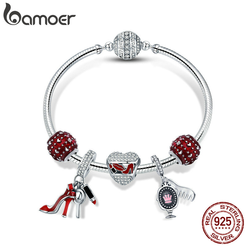 цена BAMOER Authentic 925 Sterling Silver Red Enamel Heart Women Shoes Cosmetic Bracelets & Bangles for Women Silver Jewelry SCB802