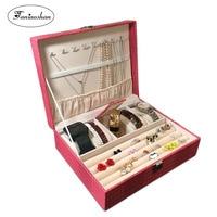 Lizard pattern pu leather jewelry box Princess jewelery storage box High quality 4 color jewelry casket Gift box for woman