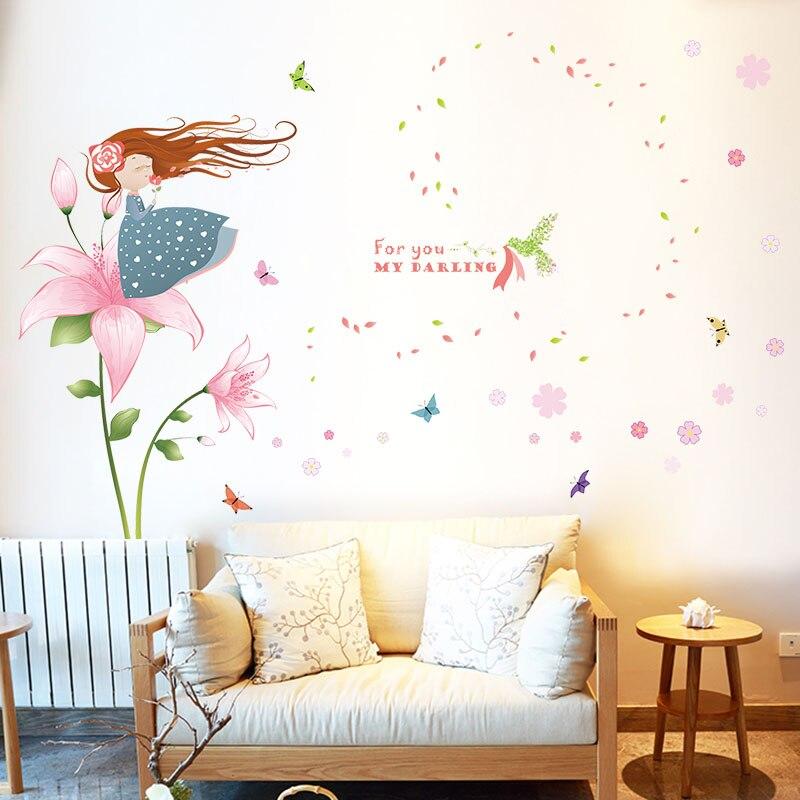 [La Fundecor] soplando pétalos chica pegatinas de pared para habitaciones de niñ