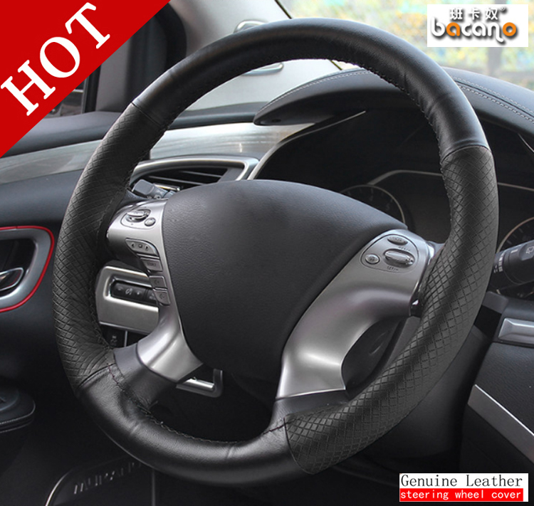 BACANO DIY Steering Wheel Covers/ soft Leather braid on the steering-wheel of Car With Needle and Thread Interior accessories
