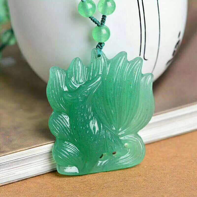 Wholesale Fine Green Natural Stone Pendants Carved Nine Tail Fox Pendant Sweater Chain Necklace Lucky for Women Crystal Jewelry недорого