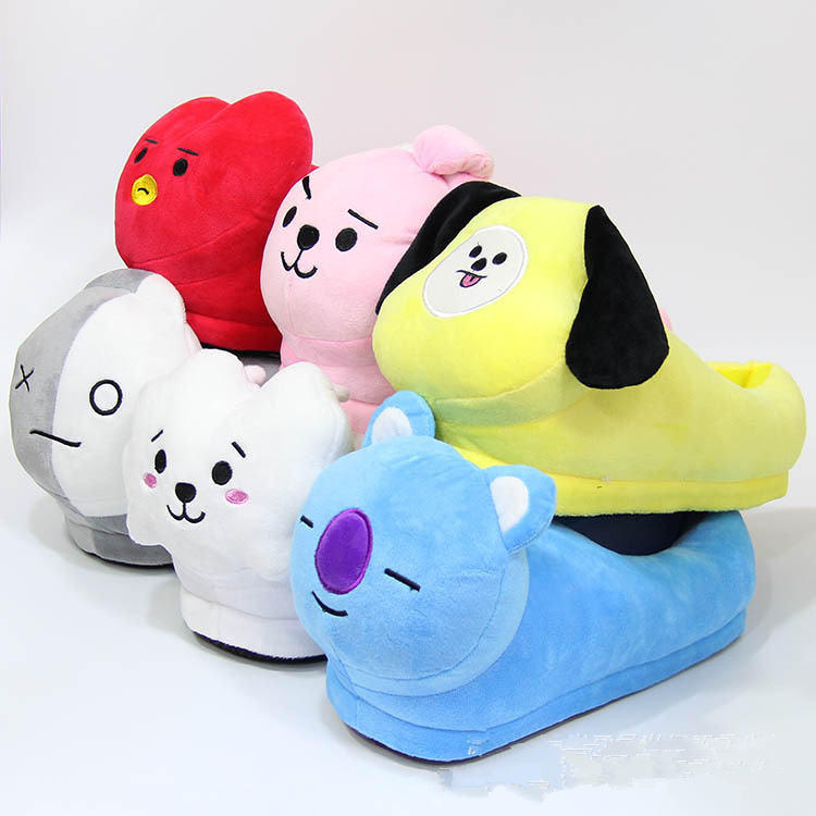 Women's Clothing Bright Kpop Bangtan Boys Q Styles Plush Slippers Toy Cute Cooky Chimmy Tata Winter Warm Indoor House Home Party Warm Shoes