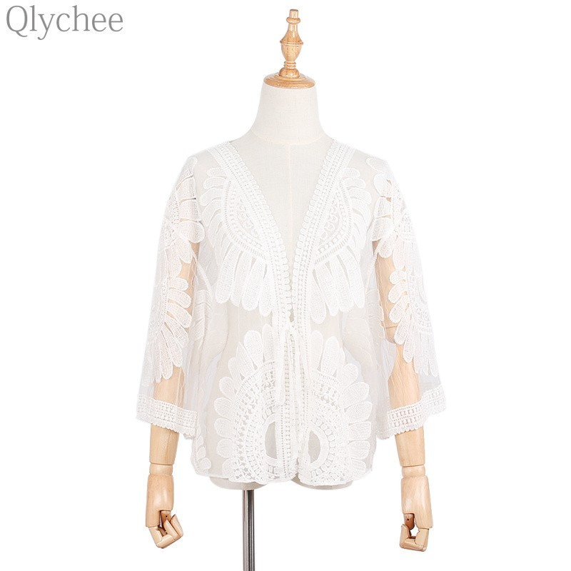 Qlychee Mori Girl font b Women b font Cardigan Flower Embroidery Hollow Out Lace See Through