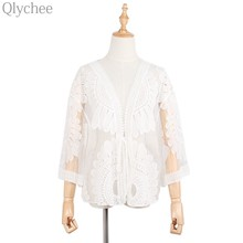Qlychee Mori Girl Women Cardigan Flower Embroidery Hollow Out Lace See Through Sunproof Casual Loose Coat