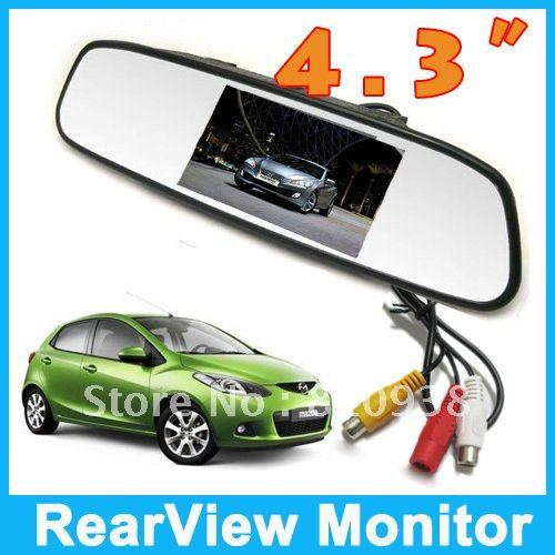 "4.3"" Inch car monitor Color Digital TFT LCD Screen Car Rear View Rearview Mirror Monitor   Free shipping"
