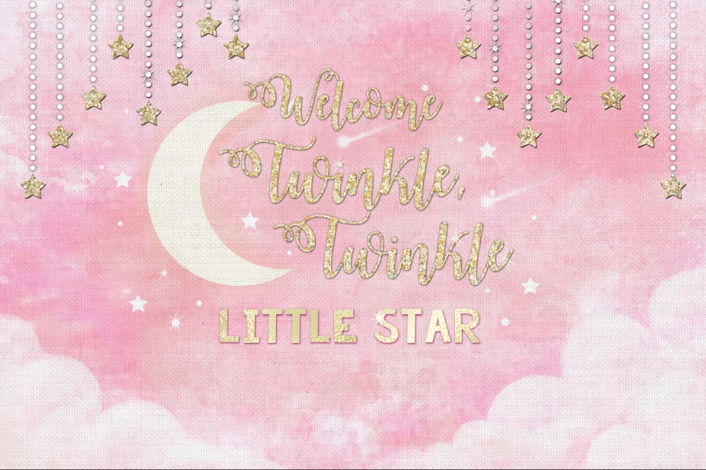 7x5ft Vintage Light Pink Twinkle Star Falling Stars Moon