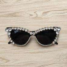 Rhinestone Crystal Vintage Women Ladies Cat Eye Retro Style Sunglasses Glasses Fashion Shades Oculos De Sol Feminino